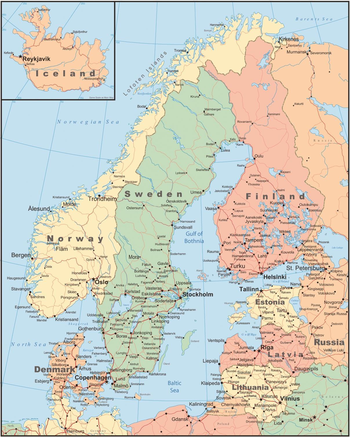 kart over arvika Kart over Finland og omkringliggende land   Kart over Finland og  kart over arvika